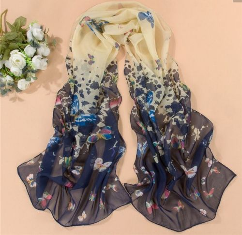 Navy Butterfly Print Scarf